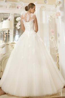 Robe de mariée Avec Jacket Lacet Col Élisabéthain Mancheron Perle