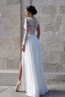 Robe de mariée Fourreau Manche Longue Col en Cœur Haute Couvert Longue