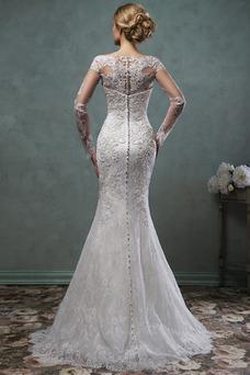 Robe de mariée Sirène Col Bateau Bouton Salle Tulle Zip