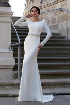 Robe de mariée Fourreau Dos nu Appliques Longue De plein air Manche Longue
