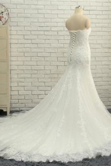 Robe de mariée Longueur ras du Sol Sirène Eglise Couvert de Dentelle