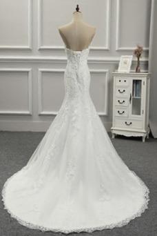 Robe de mariée Tissu Dentelle Taille Naturel Automne Col en Cœur Triangle Inversé