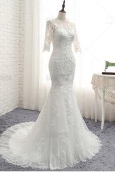 Robe de mariée Sirène Tulle Couvert de Dentelle Longue Zip Formelle