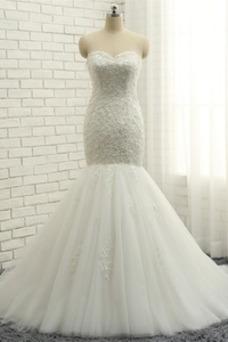 Robe de mariée Tulle Perle Salle Col en Cœur Lacet Couvert de Dentelle