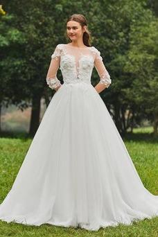 Robe de mariée Tissu Dentelle De plein air Mince A-ligne Orné de Rosette