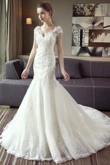 Robe de mariée Sirène Tissu Dentelle Couvert de Dentelle Taille Naturel