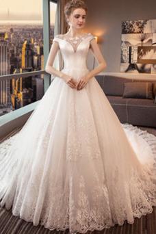 Robe de mariée Luxe Lacet A-ligne Mancheron Couvert de Dentelle Sablier