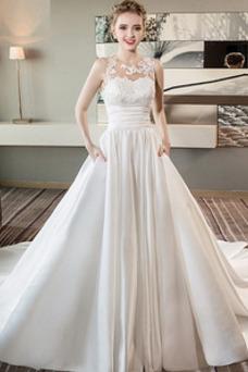 Robe de mariée Dos nu Taille Naturel Appliques Tissu Dentelle Salle