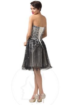 Robe de gala Manquant A-ligne Longueur Genou Col en Cœur Glamour