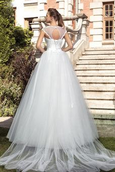 Robe de mariée Mancheron Printemps Longue Trou De Serrure Chic Col ras du Cou