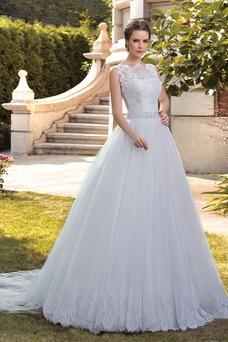Robe de mariée Milieu Tulle Mode de Bal Sans Manches Automne Col Bateau