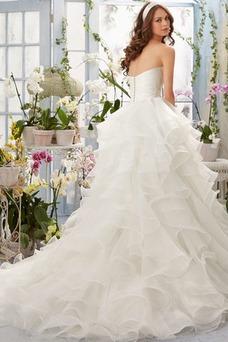Robe de mariée Organza Princesse Col en Cœur Eglise Sans Manches Gradins