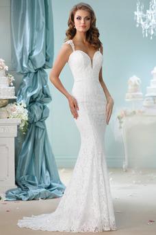 Robe de mariée Bretelles Spaghetti Zip Sans Manches Dentelle Taille Naturel