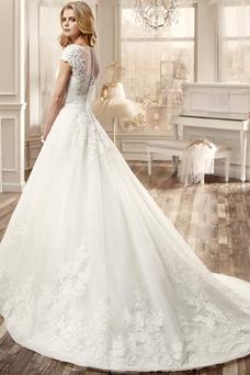 Robe de mariée Formelle Perle Eglise Mancheron Traîne Mi-longue A-ligne