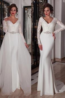 Robe de mariée Hiver Plage Manche Longue Taille Naturel Cristal Traîne Panneau