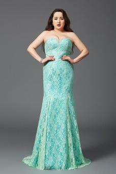 Robe de soirée Sirène Zip Couvert de Dentelle Sablier Taille Naturel