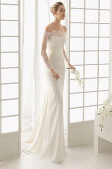 Robe de mariée Fleurs Classe Satin Élastique Traîne Courte Épaule Dégagée