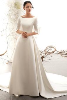 Robe de mariée Longue Elégant A-ligne Salle Taille Naturel Printemps