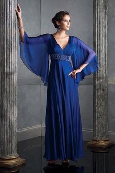 Robe de soirée 3/4 Manche Taille Empire Longueur Cheville Milieu Bleu foncé