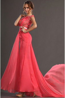Robe de bal Orné de Rosette Fourreau plissé Taille Naturel Glamour
