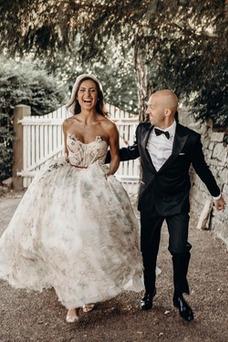 Robe de mariée Romantique Sans Manches Col en Cœur A-ligne Poire Tulle