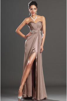 Robe de soirée Bustier Glamour Longueur ras du Sol Zip Plissé Fourreau