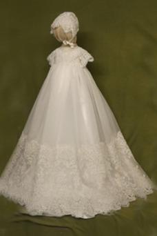 Robe cérémonie fille Princesse Tissu Dentelle Longue Manquant Nœud à Boucles