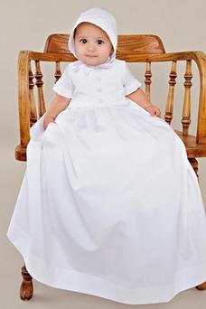 Robe cérémonie fille Longueur ras du Sol Manche de T-shirt Col haut Bouton
