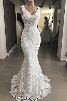 Robe de mariée Dentelle Sirène Sans Manches Elégant Taille Naturel