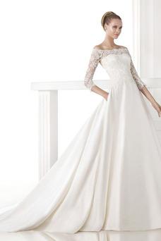 Robe de mariée Modeste Longue Poches Avec voile A-ligne Salle