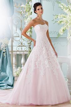 Robe de mariée Tissu Dentelle Zip Taille Naturel Bustier Automne A-ligne