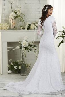 Robe de mariée Tulle Hiver Dentelle Manche Longue Formelle Traîne Courte