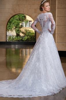 Robe de mariée Manche Longue Avec voile Haute Couvert Ceinture en Étoffe