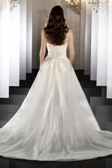 Robe de mariée Tissu Dentelle Zip Col en Cœur Taille Naturel Romantique