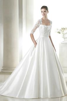 Robe de mariée Avec voile Longue Salle Manche Aérienne Haute Couvert
