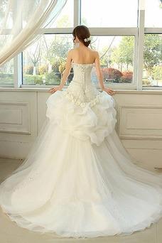 Robe de mariée Bustier Longue Ample & Ornée Asymétrique Taille Naturel