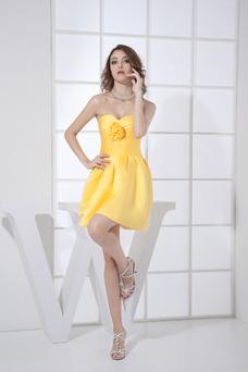 Robe demoiselle d'honneur orange Courte Bustier Fleurs Taille Naturel Informel