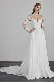 Robe de mariée Tissu Dentelle Épaule Dégagée Dos nu Printemps Manche Longue