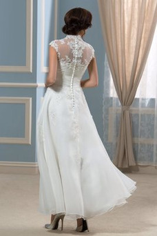 Robe de mariée Taille Naturel Col haut Longueur Cheville Ample & Ornée