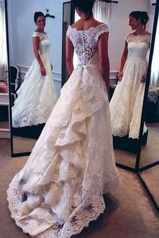 Robe de mariée Longue Mancheron Col Bateau Poire Multi Couche Sans Manches