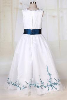 Robe cérémonie fille Sans Manches Orné de Nœud à Boucle Haute Couvert Blanche