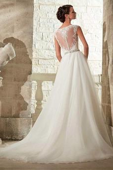 Robe de mariée A-ligne Taille Naturel Haut Bas Automne Organza Mancheron