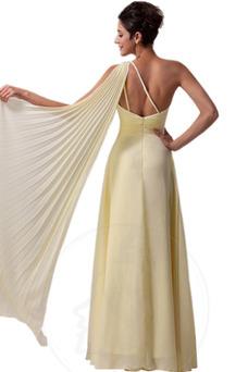 Robe de fête A-ligne Épaule Asymétrique Sablier Dos nu Elégant Mousseline