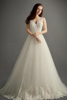 Robe de mariée A-ligne Eglise Tissu Dentelle Col en V Zip Taille Naturel