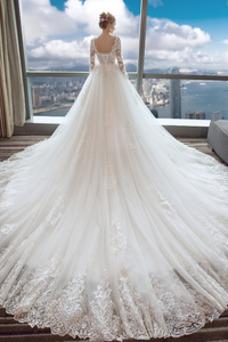 Robe de mariée Luxe Couvert de Dentelle Taille Naturel A-ligne Manche Longue