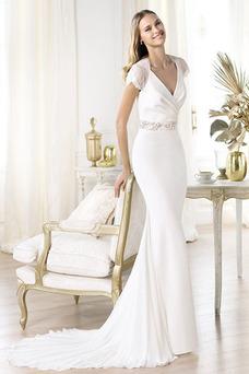 Robe de mariée Haute Couvert De plein air Mancheron Fourreau Printemps