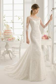 Robe de mariée Manche Aérienne Sans Ceinture Chic Automne Longue Appliques