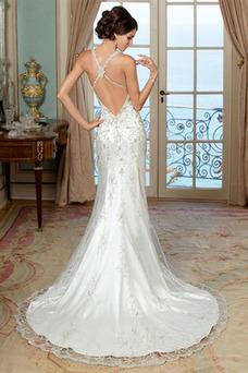 Robe de mariée Tulle Sans Manches Col Élisabéthain Taille Naturel