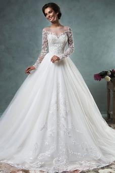 Robe de mariée Hiver Manche Longue Taille Naturel Col Bateau Gaze