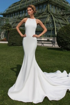 Robe de mariée Sirène Long Hiver Dentelle Sans Manches Longue